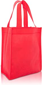"DALIX 10"" Mini Shopping Totes Small Resuseable Bags for Women and Children in Red-10 PACK"
