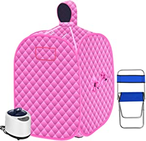 SEAAN Portable Personal Home Steam Sauna Tent 2.6L Steamer for Weight Loss Detox Sauna Full Body W/Remote Control,10-60 Minute, 9 Temperature Levels,Chair