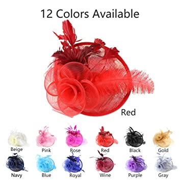 Amazon.com: CHLONG Sinamay Feather Fascinator Hat Pillbox Headband for Women Wedding Tea Party Cocktail (Red): Beauty