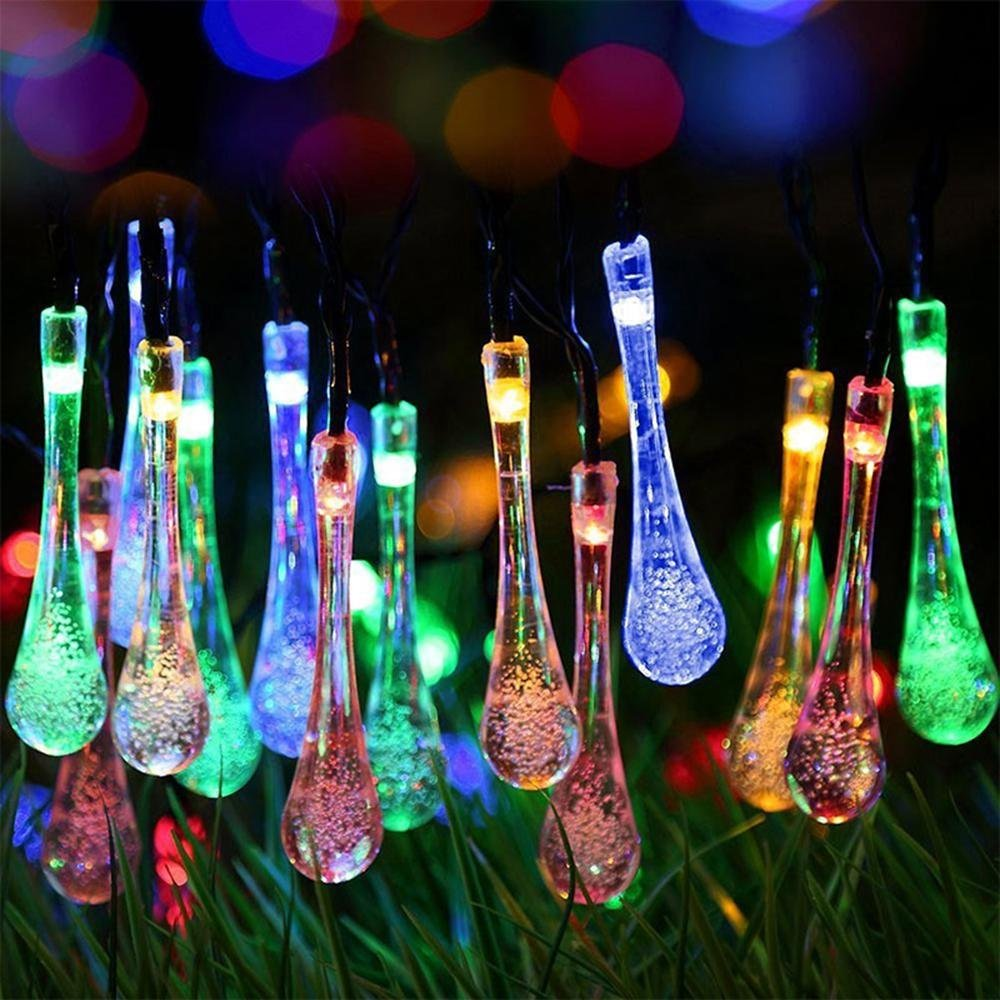 Teepao Outdoor String Lights Solar Powered 20 Led Acrylic Waterproof Raindrop String Lights For Garden, Patio, Yard, Home, Christmas Tree, Parties