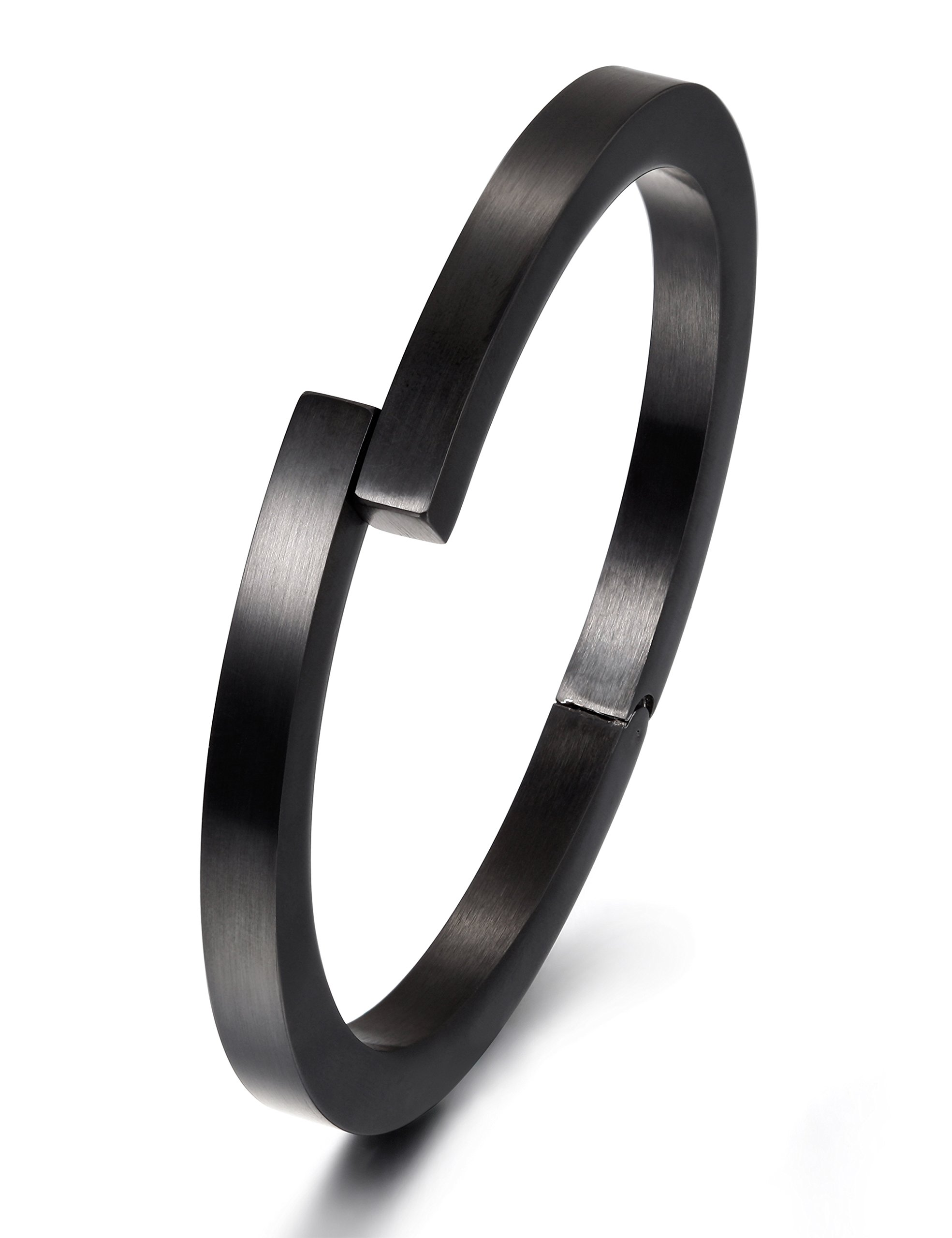 Wistic Black Bracelet with Stainless Steel Bangle Cuff and Magnetic-Clasp Plain Polished for Men Boy (Black)