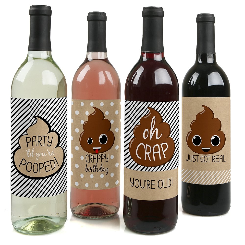 Oh Crap, You're Old! - Poop Birthday Party Wine Bottle Label Stickers - Set of 4 Big Dot of Happiness LLC BT8076wl