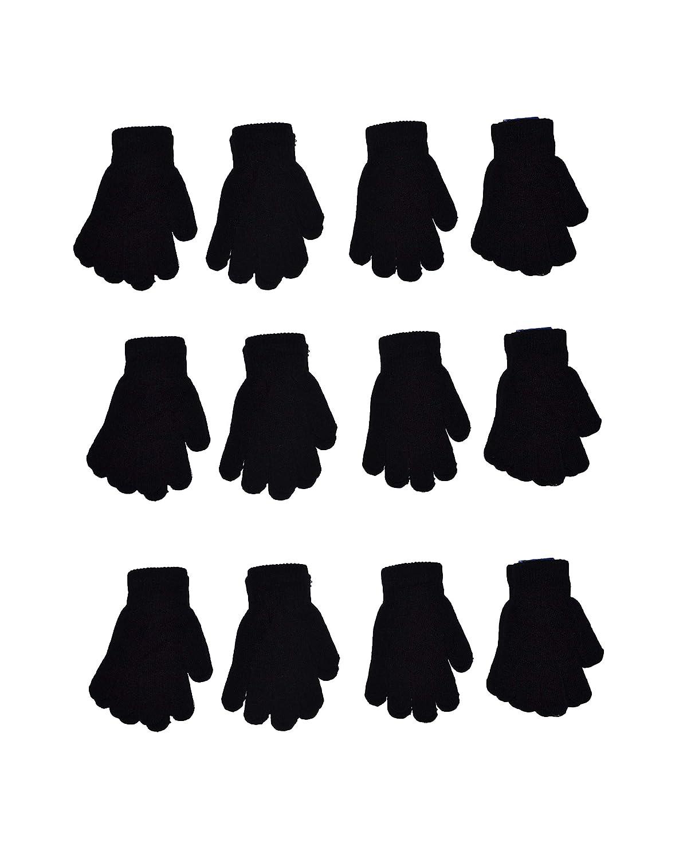 6 to 16 years old Children Warm Magic Gloves 12 Pairs Teens Winter Gloves Boys Girls Knit Gloves OPT Brand