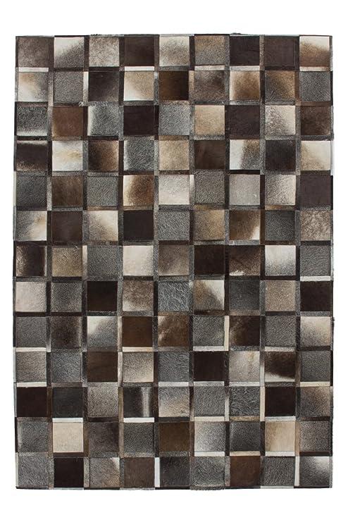 Teppich Wohnzimmer Lederteppich Carpet modernes Design Rug Lavish 410 Grau  100% Leder 120x170cm | Teppiche günstig online kaufen