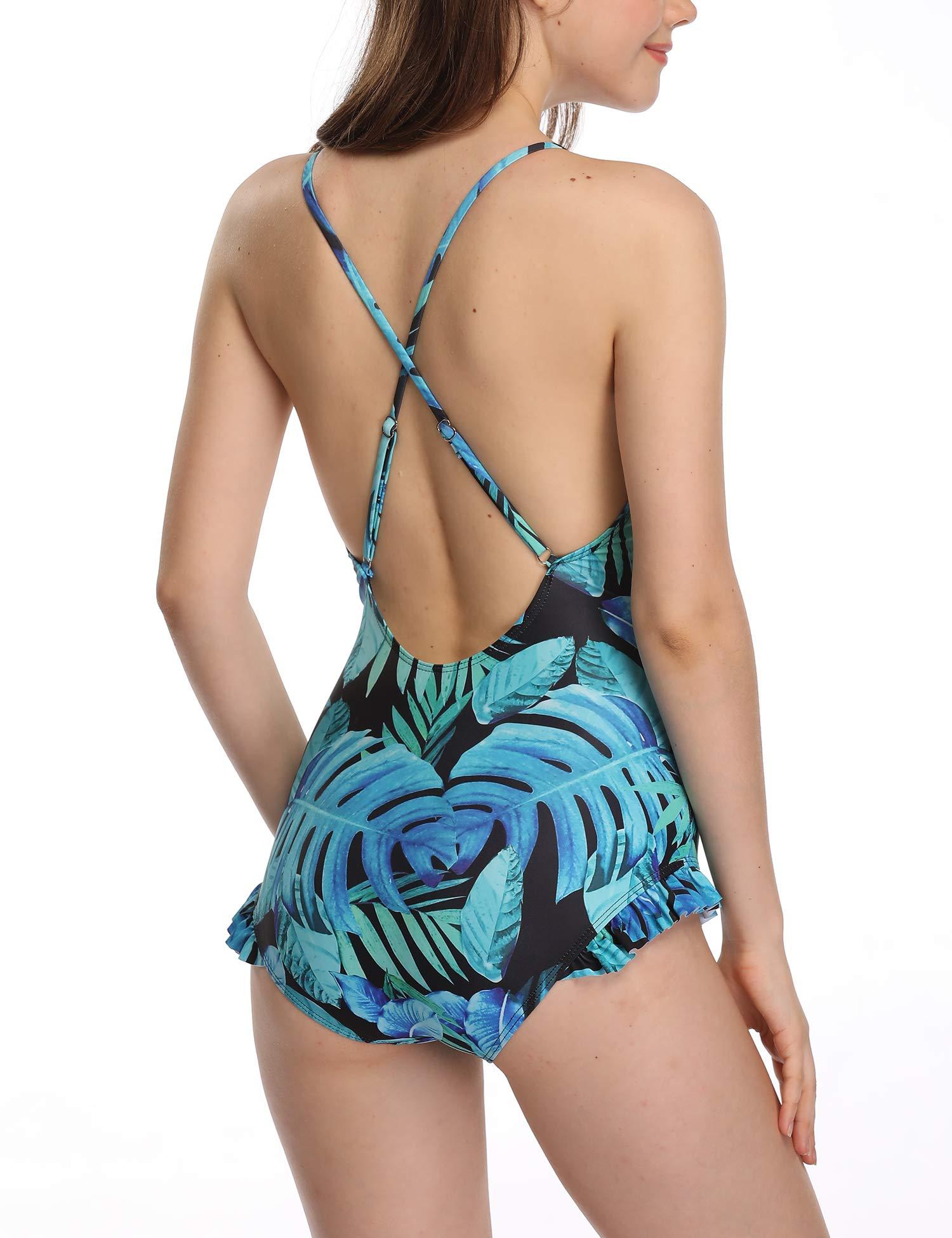 Verano Playa Women Halter One Piece Swimsuit V Neck Strap Swimwear Ruffled Flounce Tummy Control Bathing Suit