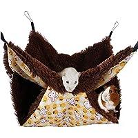 Tfwadmx Rat Double Hammock, Ferret Bunkbed Warm Fleece Hanging Bed Pet Cage Accessories Toys for Sugar Glider Degu…