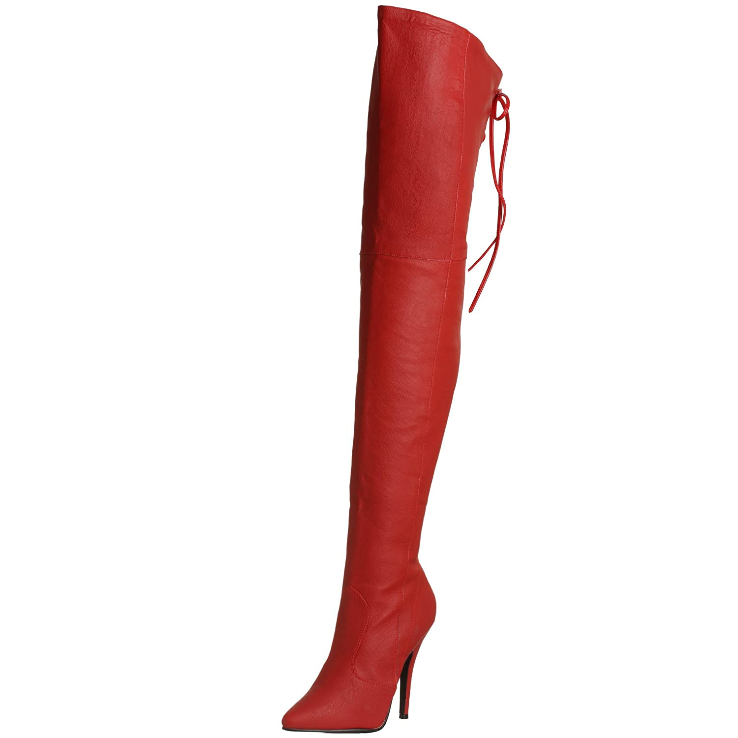 53ab0e2c36bbc Amazon.com | 5 Inch Sexy Thigh Boot with Lace at The Rear Red Leather High  Heel Boot | Boots