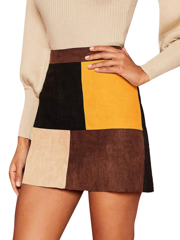 60s Skirts | 70s Hippie Skirts, Jumper Dresses MAKEMECHIC Womens Zipper Back A-line Bodycon Mini Faux Suede Corduroy Skirt $16.99 AT vintagedancer.com