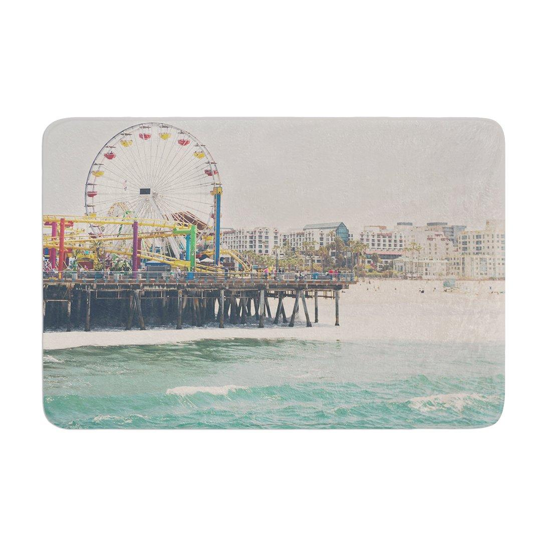 Kess InHouse Laura Evans The Pier at Santa Monica Coastal Teal Memory Foam Bath Mat 17 by 24