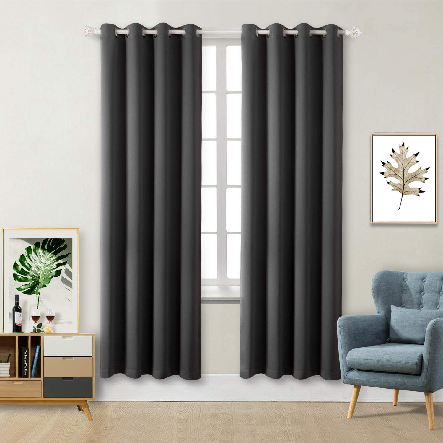 BGment Blackout Curtains - Grommet Thermal Insulated Room Darkening Bedroom and Living Room Curtain, Set of 2 Panels (52 x 84 Inch, Dark Grey)