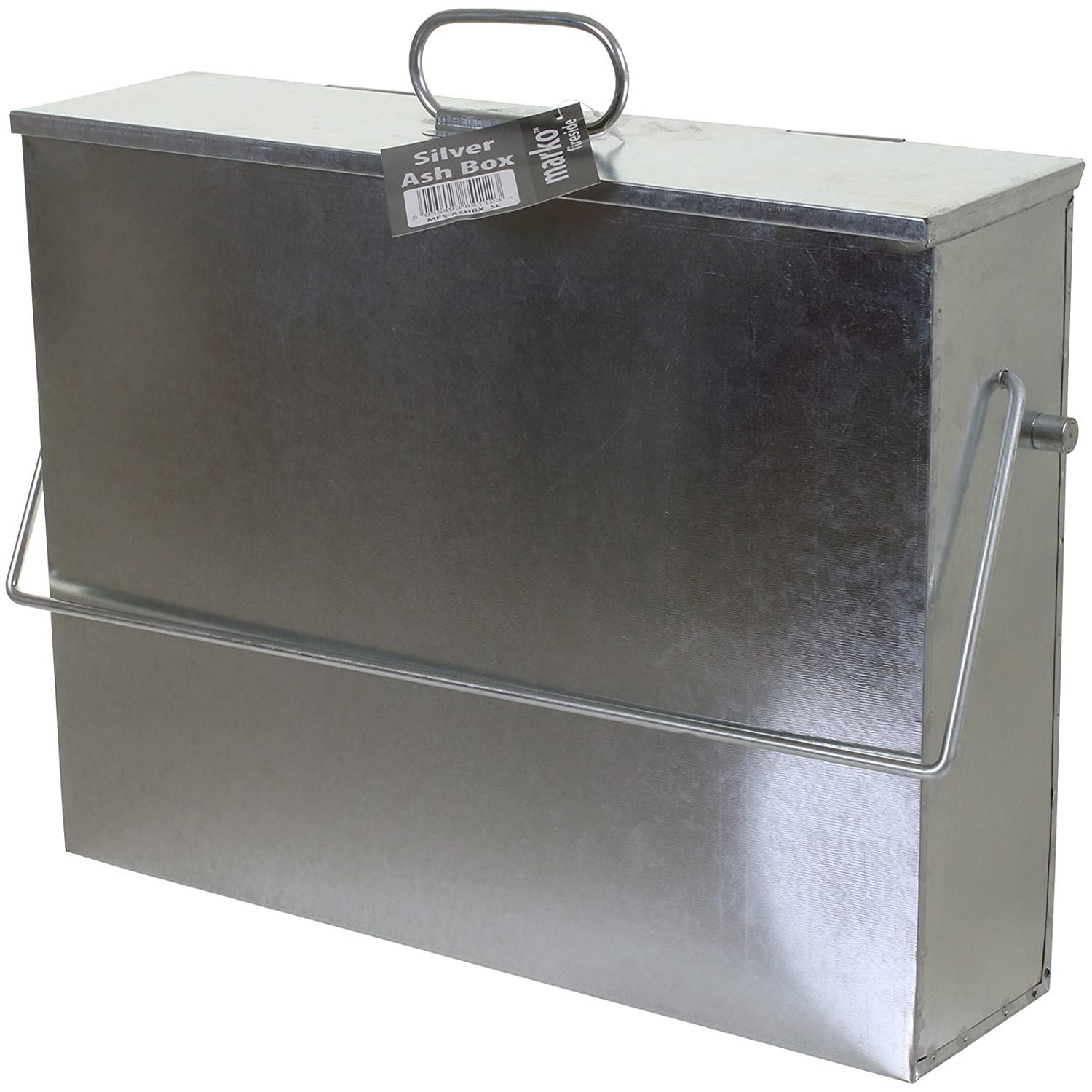 Marko Fireside Ash Carrier Galvanised Metal Hot Tidy Box Container Fireplace Pan Bucket Bin (Galvanised)