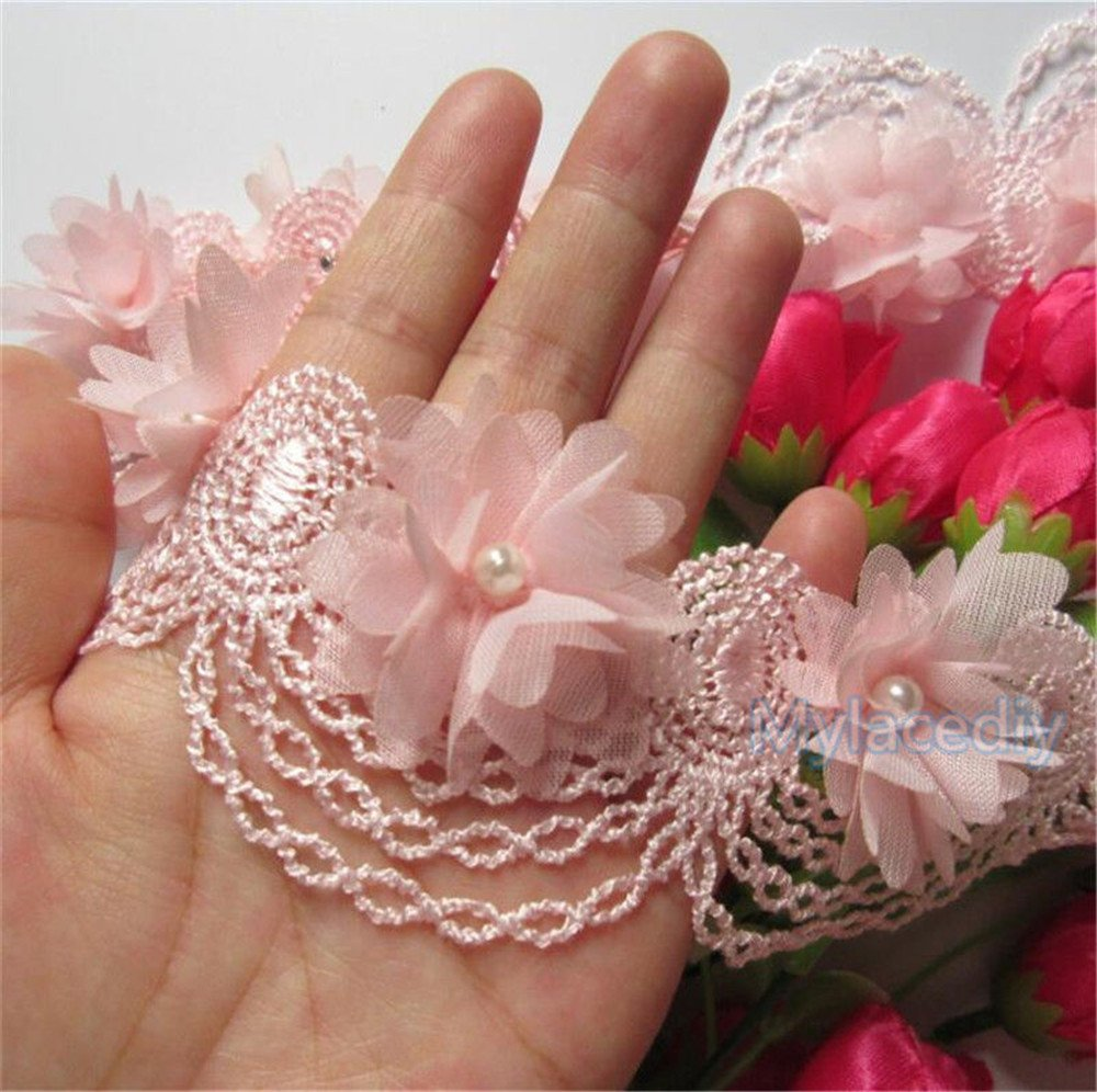 2 Meters Chiffon Flower Pearl Lace Edge Trim Ribbon 6 cm Width Vintage Style Pink Edging Trimmings Fabric Embroidered Applique Sewing Craft Wedding Bridal Dress Embellishment DIY Clothes Decor Qiuda
