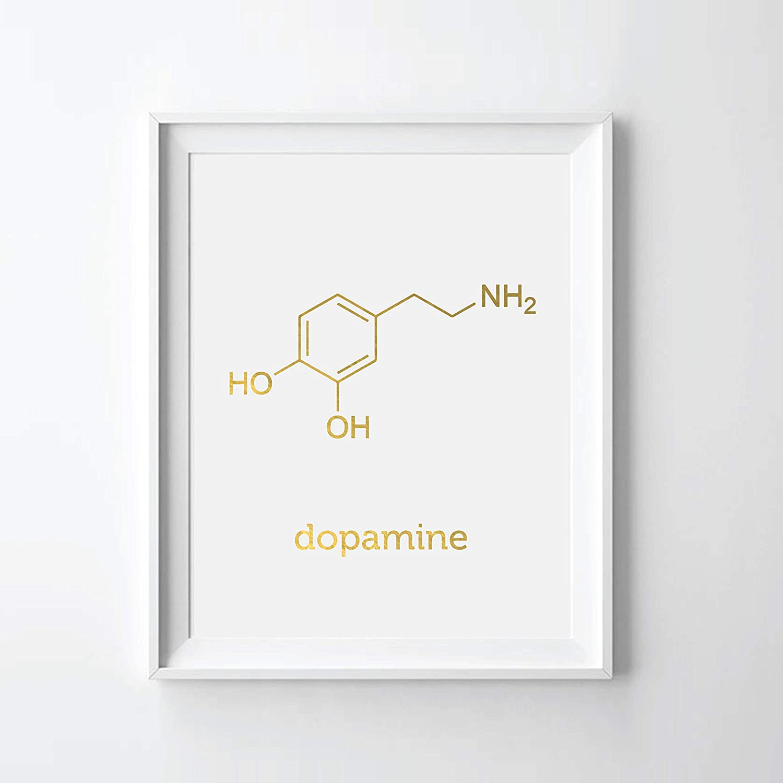 3D Printed Dopamine Molecule Keychain in Gold Steel