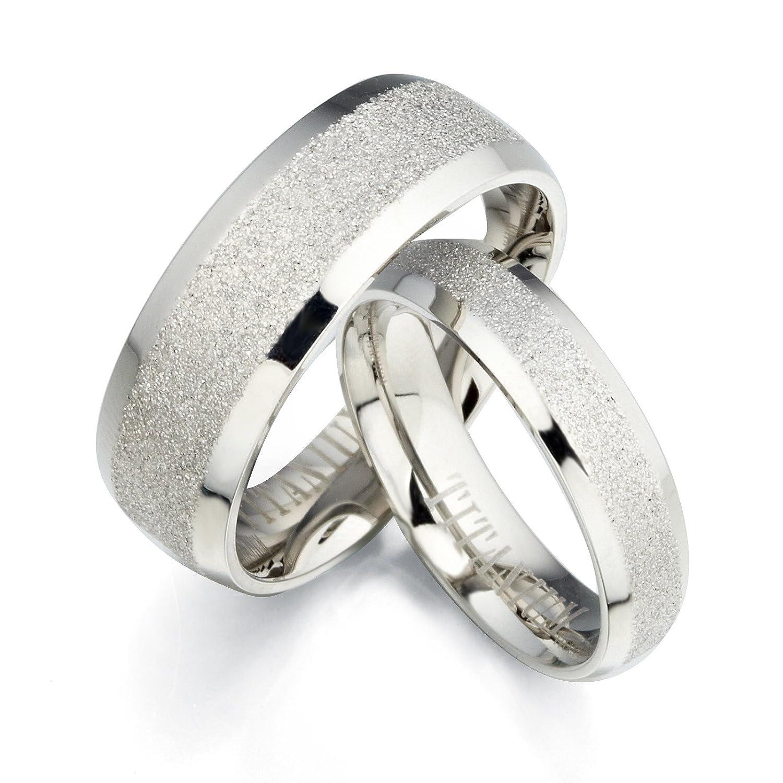 Gemini Groom /& Bride Beveled Edge Matching Couple Wedding Anniversary Titanium Ring Set Width 8mm /& 5mm Men Ring Size 10.5 Women Ring Size 11