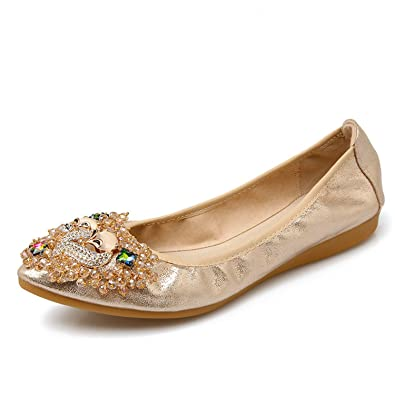 2e220911af496b Yang Sha New Women Crystal Ballet Flats Folding Shoes 2017 Casual Rhinestone  Soft Driving Flats Loafers