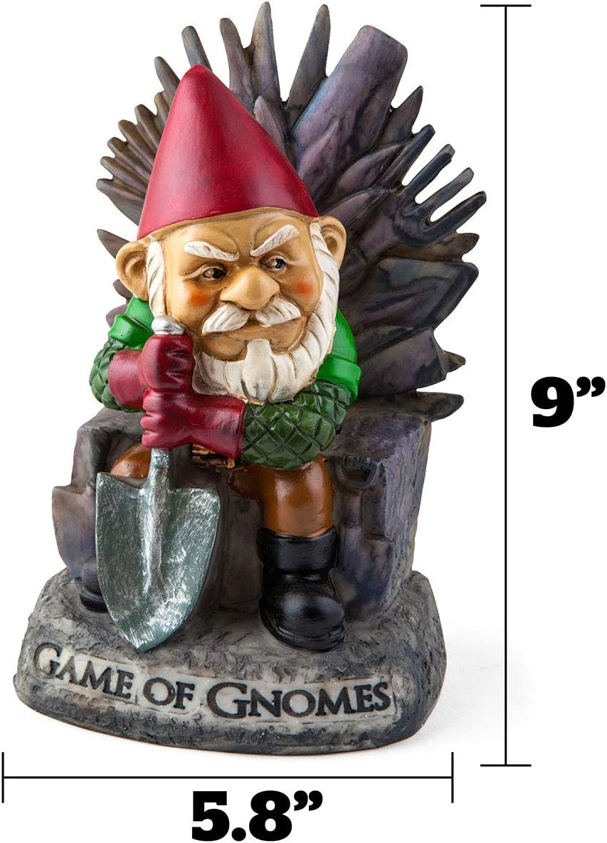 Big Mouth Inc. Game of Gnomes Garden Gnome \u2013 Comical Garden Gnome,  Hand,Painted Weatherproof Ceramic Lawn Gnome, Makes a Great Gift, 9.5\u201d Tall