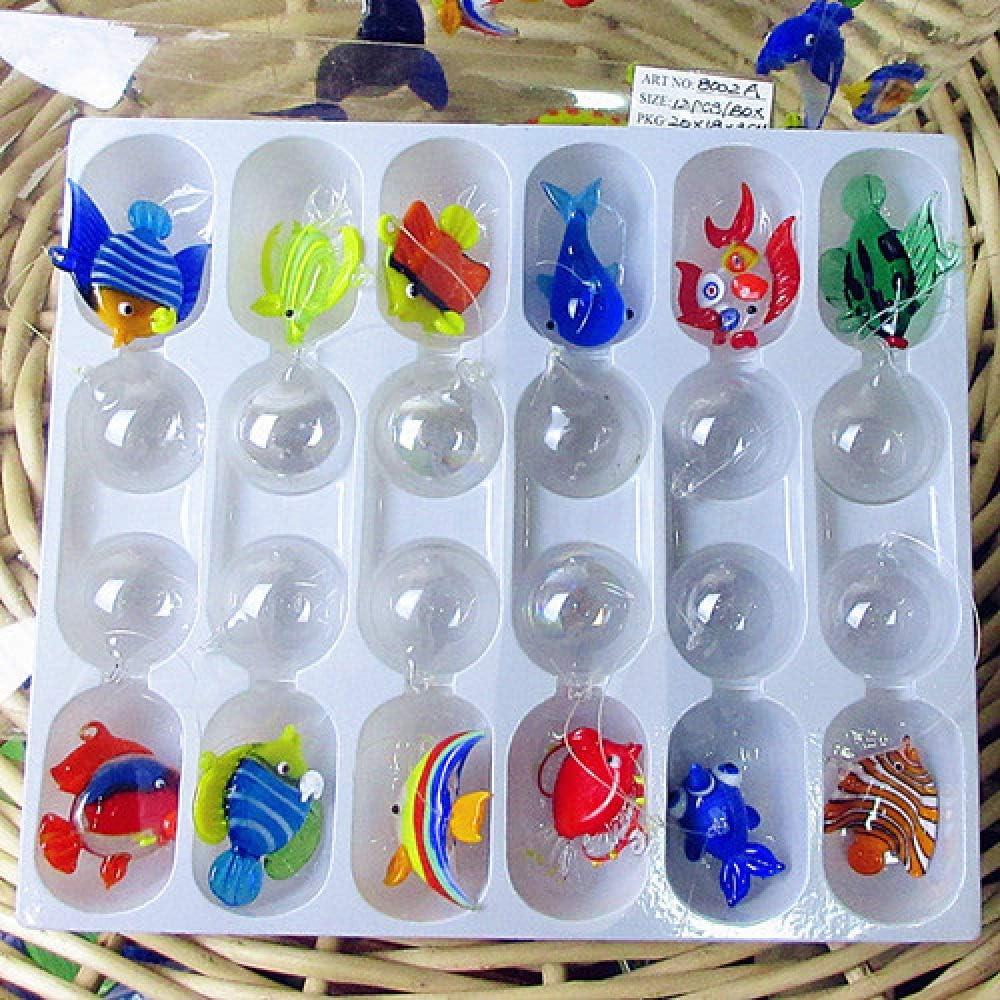 LIUYAWEI 12 Piezas Nuevas Figuras de Peces Tropicales de Vidrio Flotante soplado a Mano Personalizadas, Mini Figuras de decoración de Acuario, estatuas de Animales de Vidrio Colgante, Azul