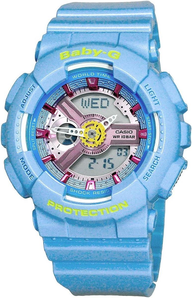 Casio Baby-G BA-110CA-2A Analog Digital Light Blue Resin Ladies Sports Watch