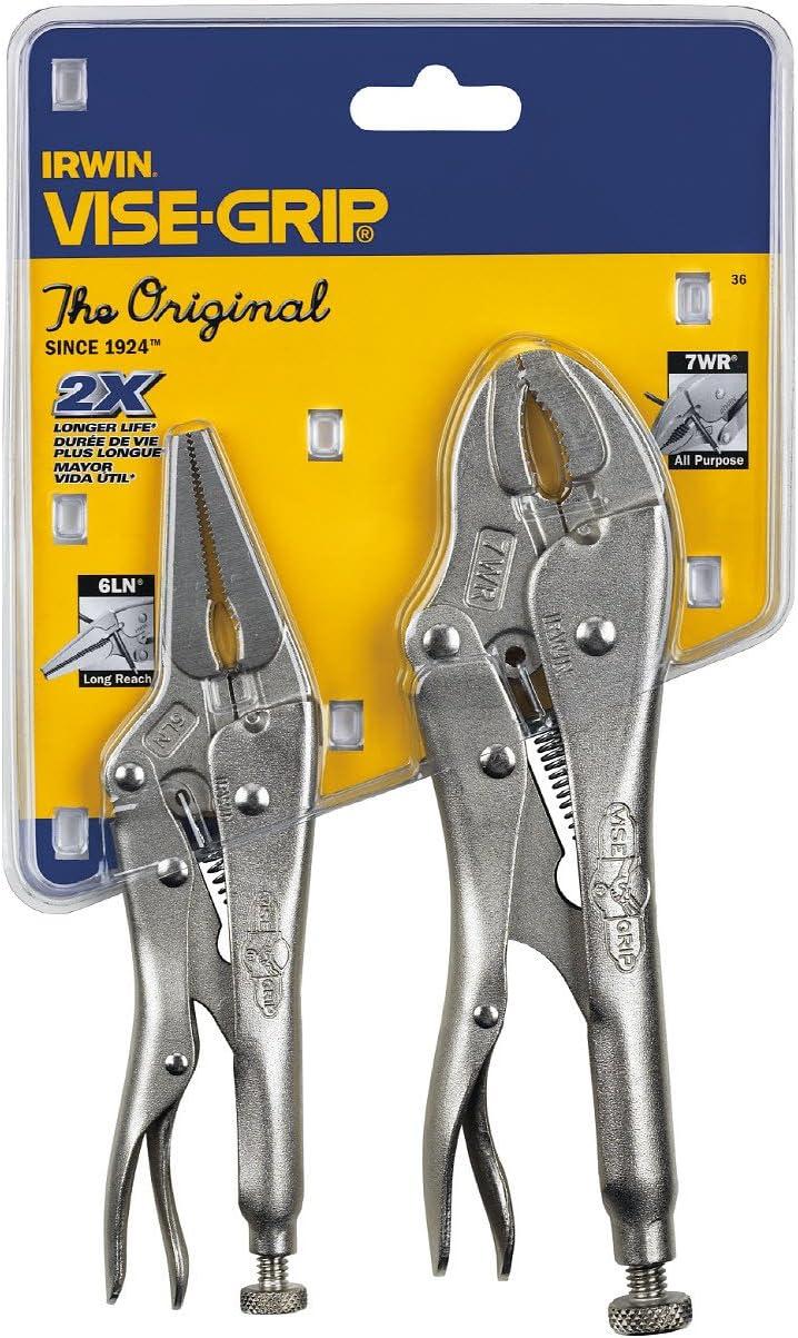IRWIN VISE-GRIP Original Locking Pliers Set with Wire Cutter, 2-Piece (36) - Locking Jaw Pliers -