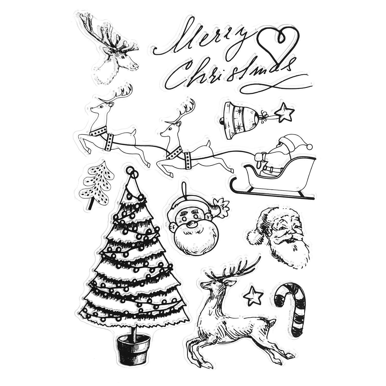 ZesNice Stempel Weihnachten 4er 60 Motiven Silikonstempel Silikon