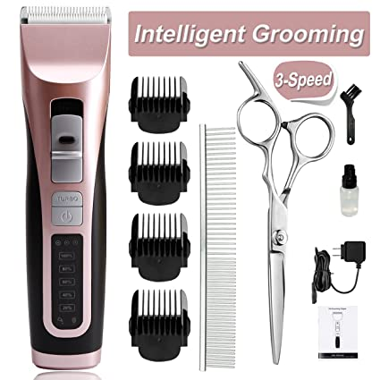 cyrico Dog Grooming Clippers 3-Speed Dog Clippers for Small Medium Dogs Cordless Pet Grooming