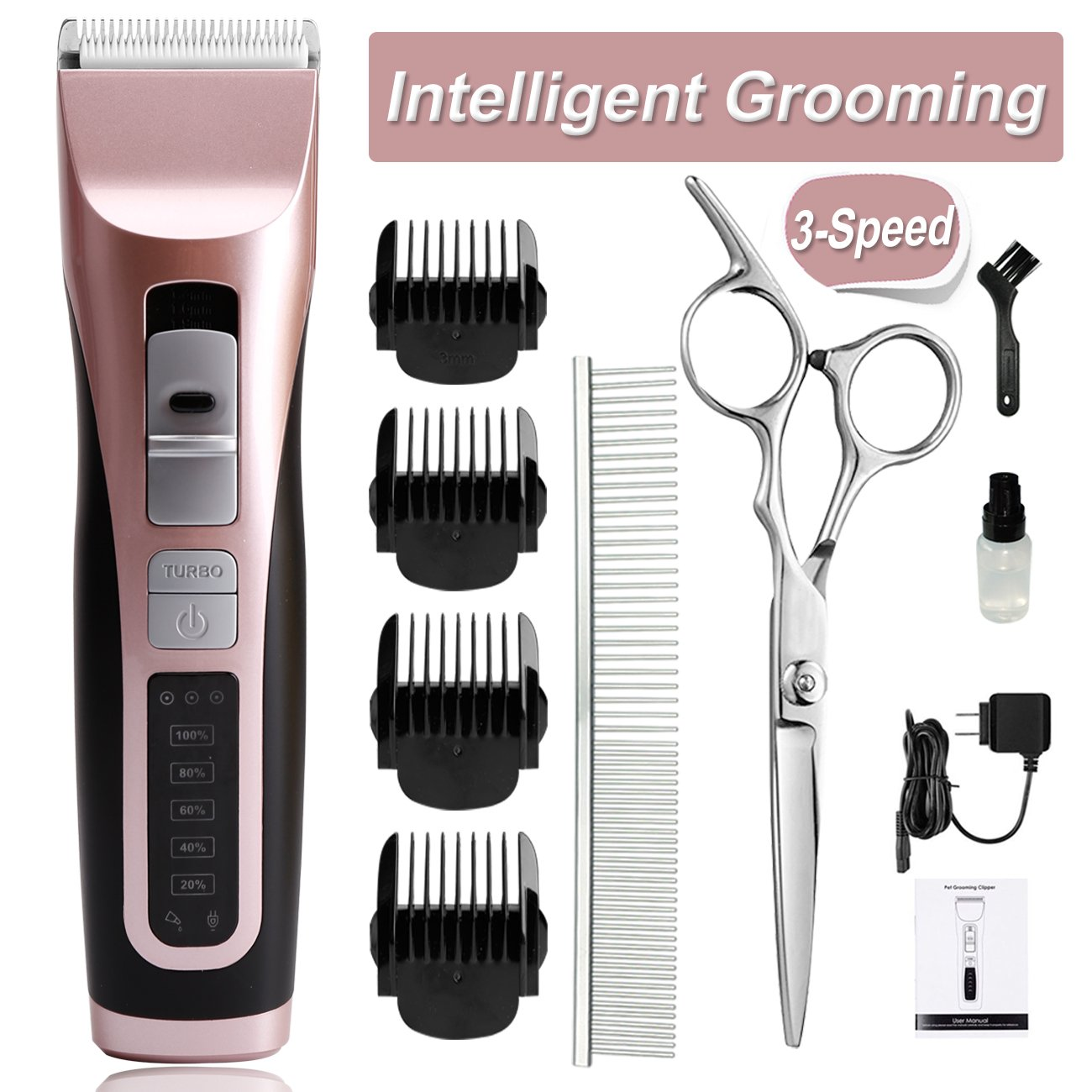 cyrico 3-Speed Dog Clippers for Thick Coat Dog Grooming Clippers Kit Professional Heavy Duty Cordless Pet Clippers Trimmers for Small Medium Large Dogs Cats with Intelligent Reminders (3-Speed)