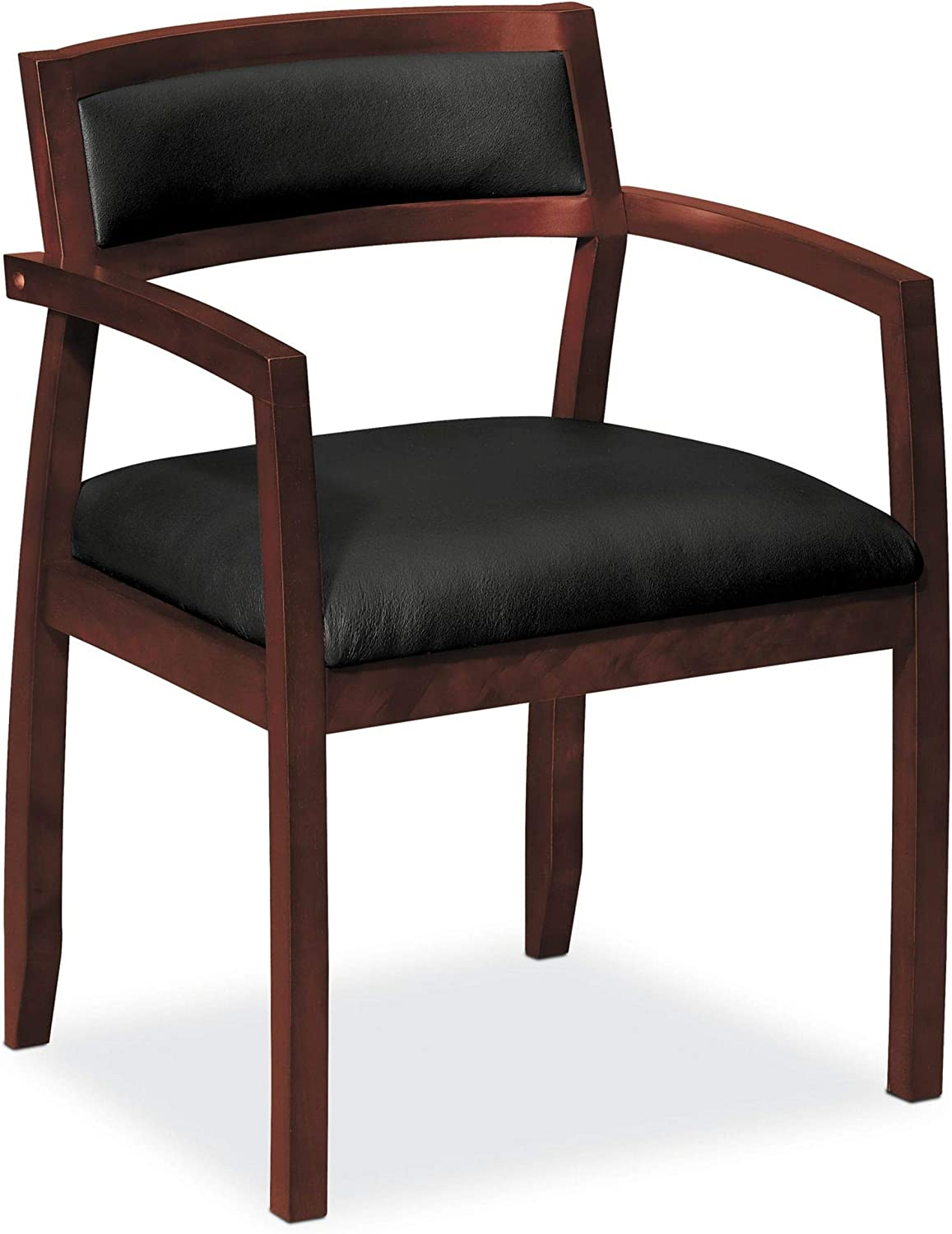 HON HVL852.N.SB11 Topflight Wood Guest Chair – Leather Seated Guest Chair with Arms, Office Furniture, Mahogany Finish VL852