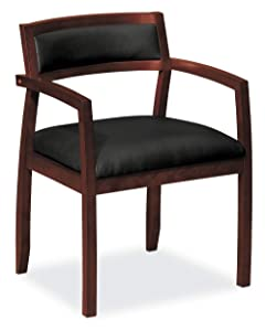 HON HVL852.N.SB11 Topflight Wood Guest Chair -Leather Seated Guest Chair with Arms, Office Furniture, Mahogany Finish (VL852)