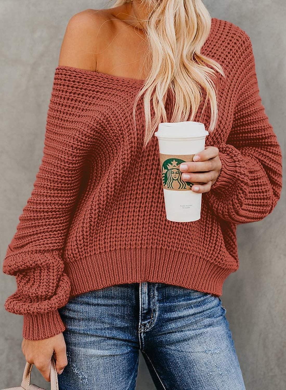 Damen Oberteile Sweater Strickpullover mit Fledermaus/ärmel locker /übergro/ße Pullover eignet Sich f/ür Herbst ASTYLISH Damen Pullover Winter und Fr/ühling