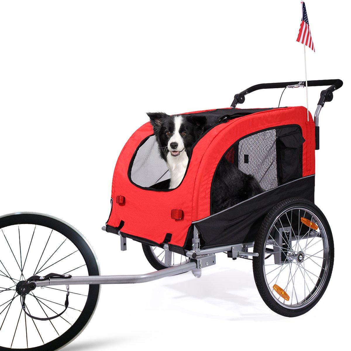 LAZYMOON Cycling Bicycle Trailer Pet Dog Bike Trailer Stroller Jogging w/ Suspension