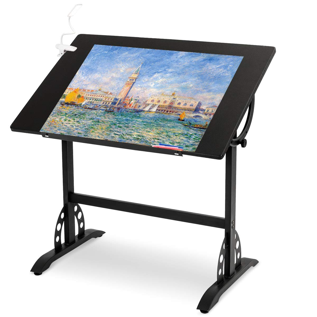 Tangkula Adjustable Drawing Desk Art & Craft Drafting Table Craft Station Chic Multi-Functional Paint, Study, Write Table, Black by Tangkula