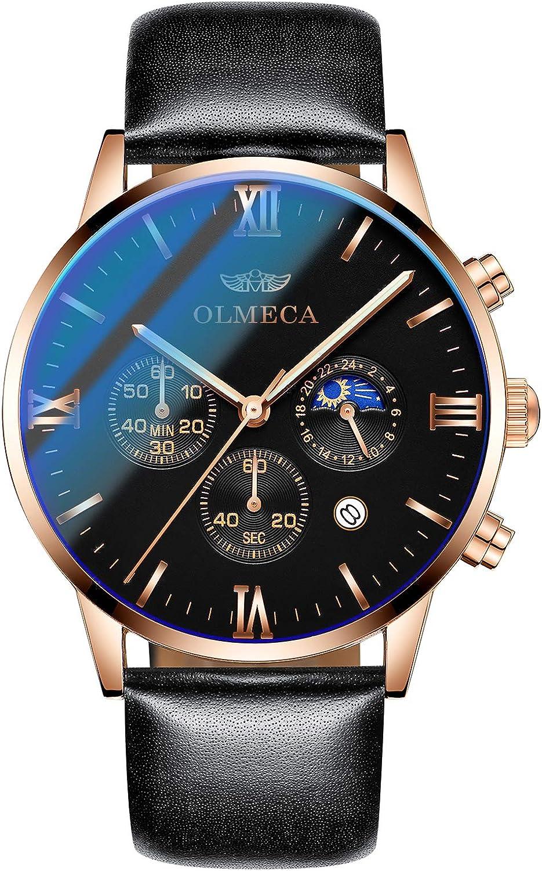 OLMECA Men s Watch Sport Dress Fashion Quartz Watches Chronograph Date Waterproof Wrist Watch for Men Genuine Leather Strap Rose Gold Stainless Steel Case Black Color 833