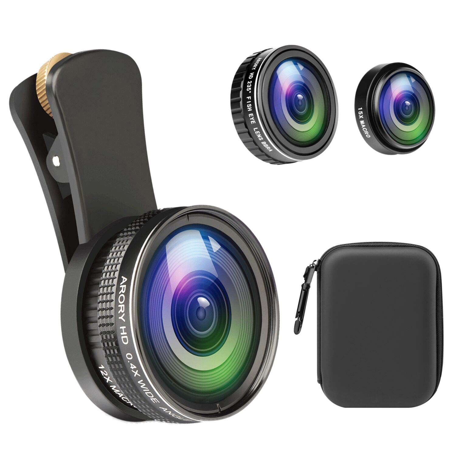 Phone Camera Lens,ARORY Pro Photography Lens Kit for iPhone, Samsung, Pixel,235°Fisheye Lens & 15X Macro+0.4X Wide Angle & 12x Macro with EVA Travel Case by ARORY