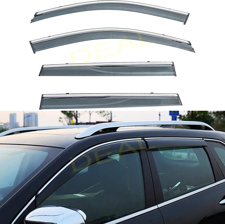TuningPros WD-769 Tinted Smoke Out-Channel Window Visor Deflector Rain Guard 4-pc Set