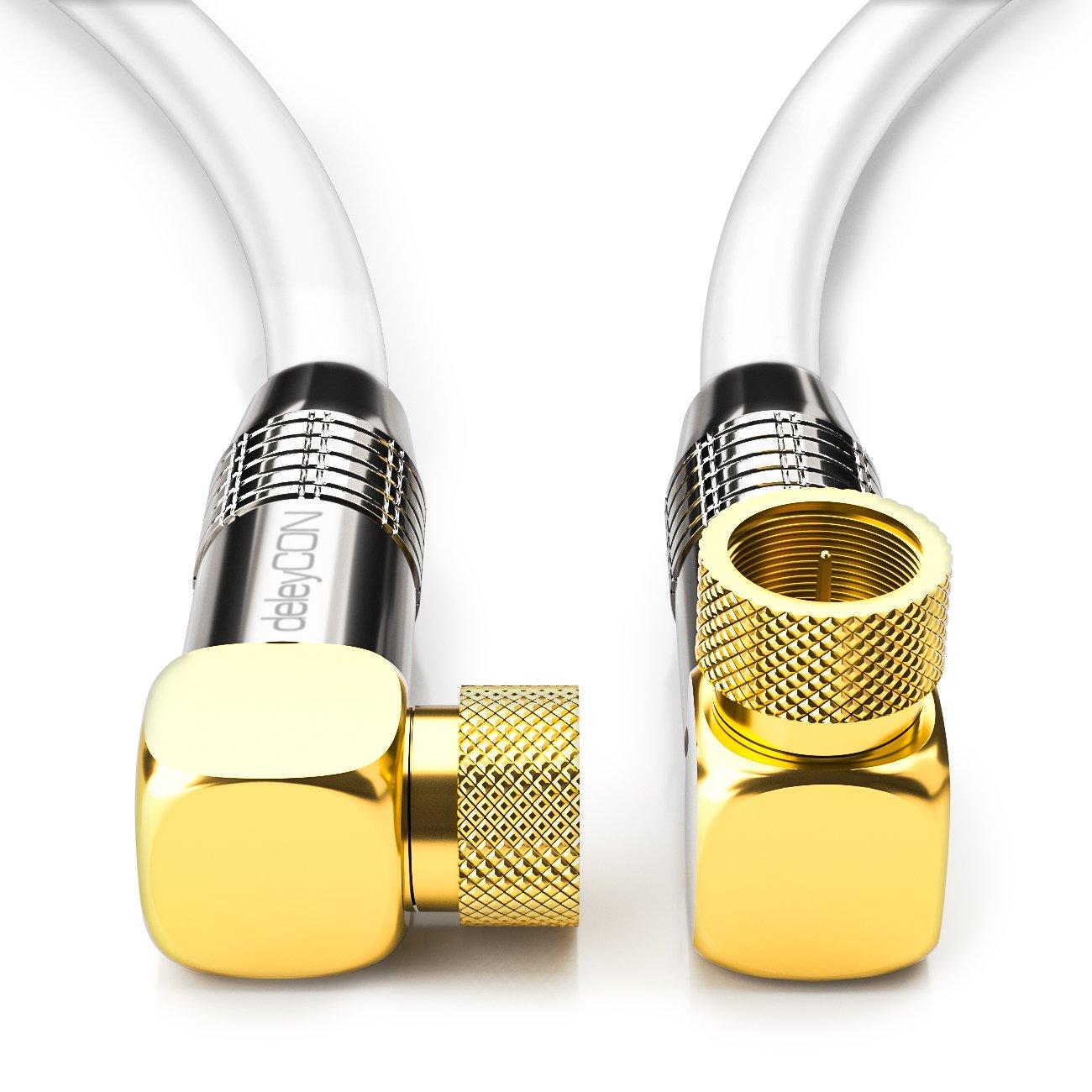Cable para antena satélite de 3m deleyCON PREMIUM HDTV cable coaxial angulado: Amazon.es: Electrónica