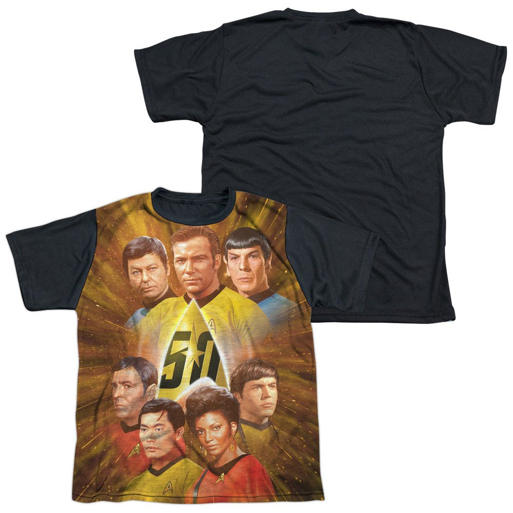 Star Trek 50th Anniversary Crew Youth Black Back 100/% Poly T-Shirt