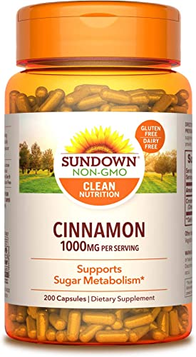 Cinnamon Capsules by Sundown, Support Sugar Metabolism, Non-GMO , Free of Gluten, Dairy, Artificial Flavors, 1000 mg, 200 Capsules