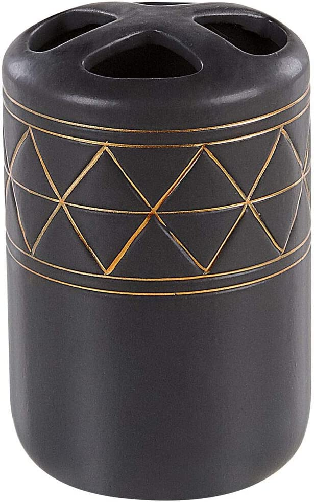 Beliani Elegantes Badezimmer-Zubeh/ör 5-teilig aus Keramik in Schwarz//Gold Lanco