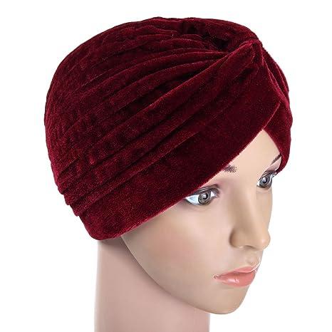 a99d632e6dc71 furnido suave terciopelo indio Tapa Turbante Pelo de calentador de invierno  para mujer gorro diadema pañuelo