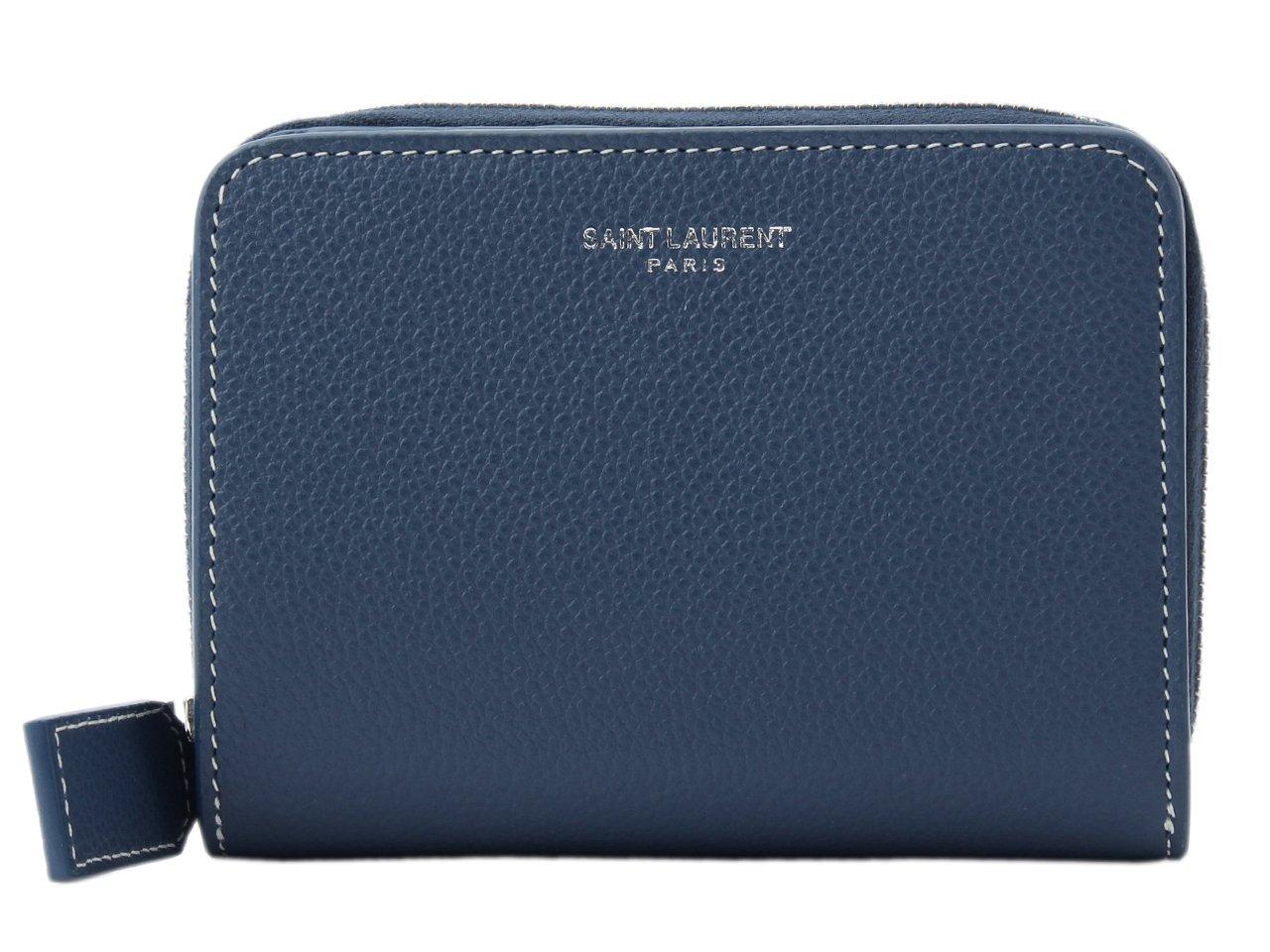 (サンローラン) SAINT LAURENT 財布 二つ折り ラウンドファスナー レザー 414661 [並行輸入品] B07B9VHW1H Denim Denim