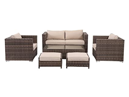 HOMHH Florida 6 Pieces Outdoor Patio Wicker Sofa Conversation Furniture Set  With Footstools, Toffee