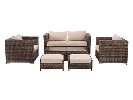 HOMHH Florida 6 Pieces Outdoor Patio Wicker Sofa Conversation Furniture  Set, Truffle - Amazon.com: HOMHH Florida 6 Pieces Outdoor Patio Wicker Sofa