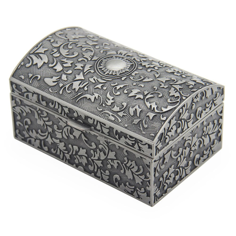 Vintage Metal Jewelry Box Small Trinket Storage Organizer Box Chest Ring Case for Girls Women, Tin Color AVESON