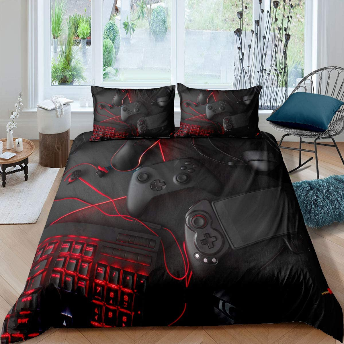 Game Comforter Cover Twin Size Gamepad Bedding Set Game Console Modern Sci-Fi Style Duvet Cover for Teen Boys Player Video Game Controller Quilt Set with Zipper Ties,1 Duvet Cover with 1 Pillowcase