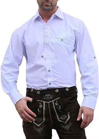 German Wear Camisa para traje regional de piel con diseño de flor edelweiss bordado, color blanco