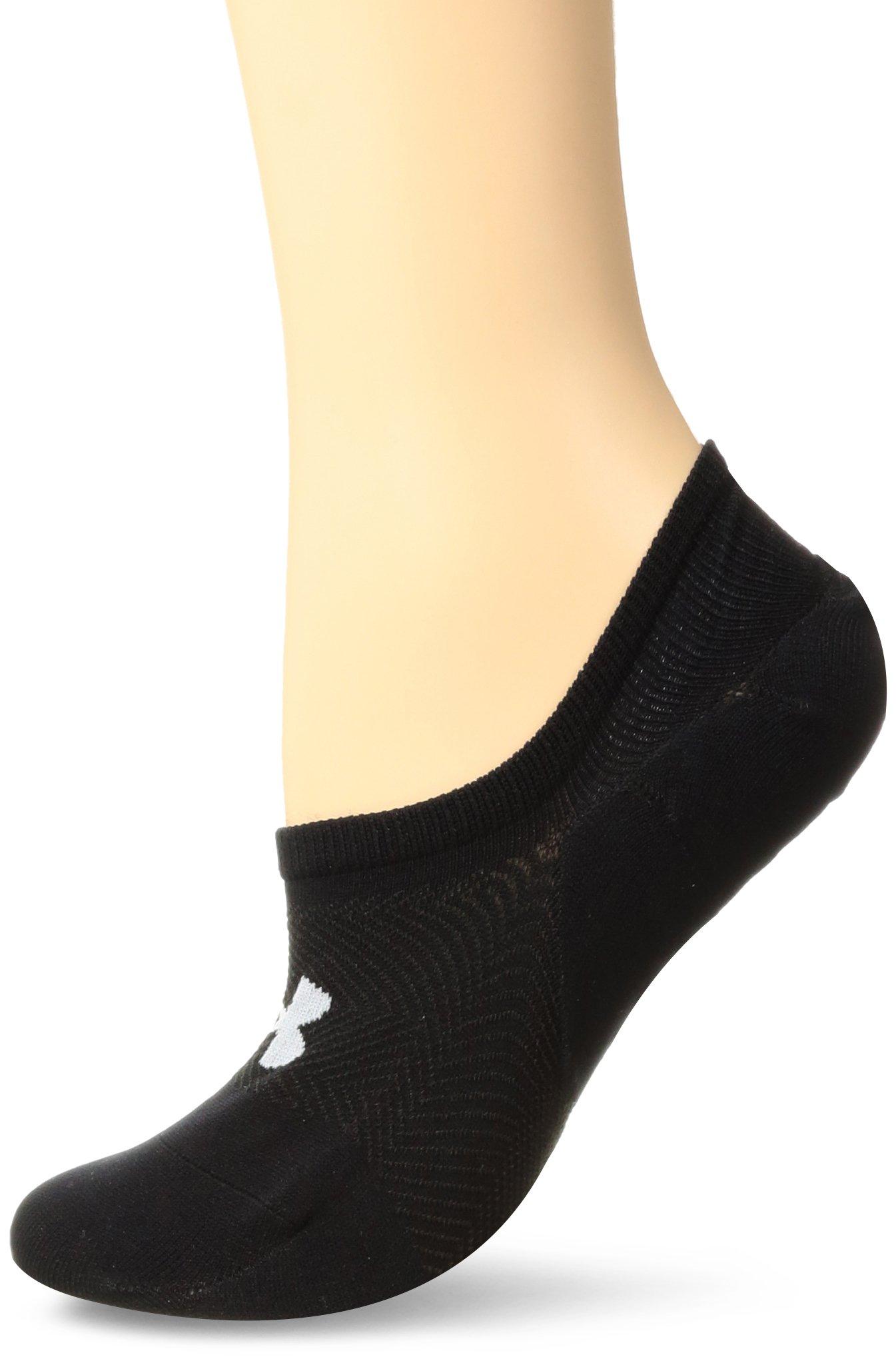 Under Armour Women's Essential Ultra Low Socks (3 Pack), Black, Medium