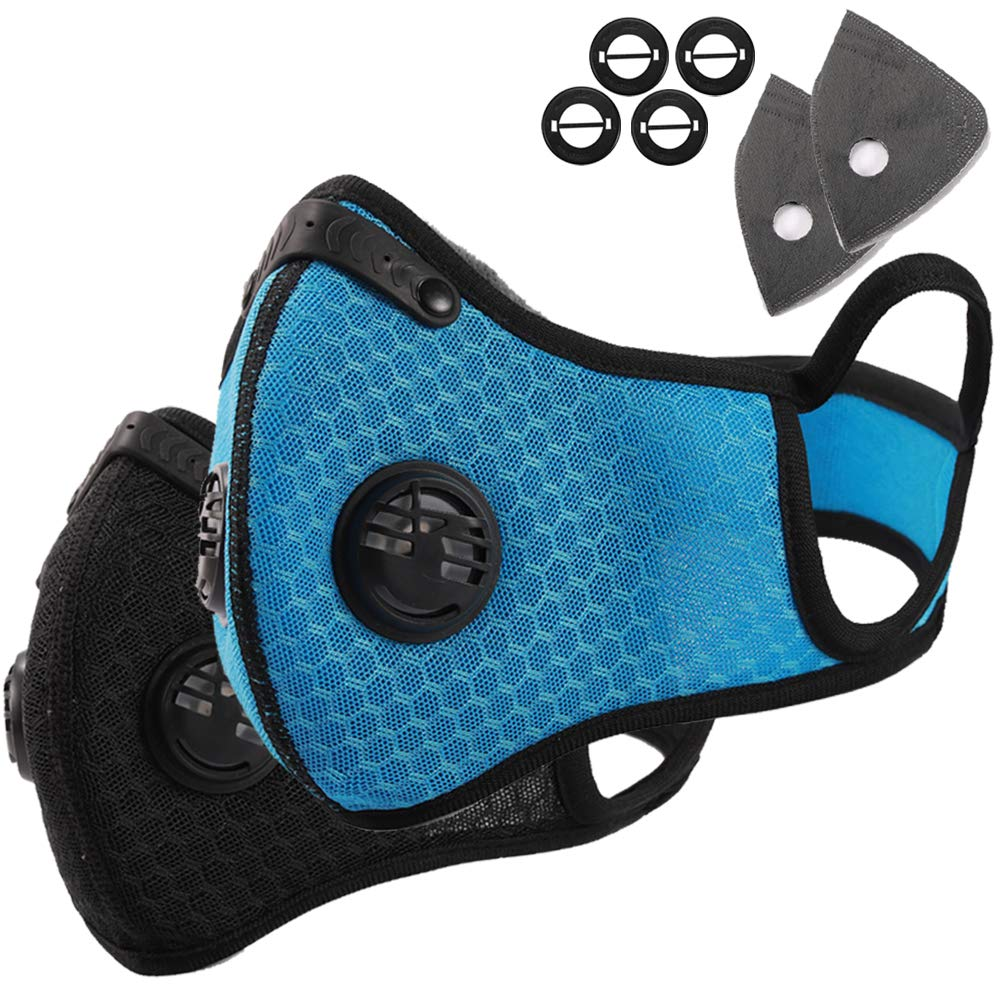 Novemkada Dust Mask - Activated Carbon N99 Earloop Dustproof Masks with Extra Filter Cotton Sheet and Valves for Exhaust Gas, Pollen Allergy, PM2.5, Running, Cycling, Outdoor Activities (Black+Blue)
