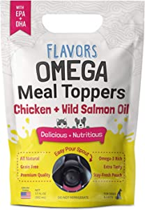Flavors Omega Meal Toppers Chicken + Wild Salmon Recipe for Dogs & Cats - Delicious, Human Grade Omega 3 Supplement with EPA & DHA Fatty Acids (17 FL OZ, 100+ Servings)