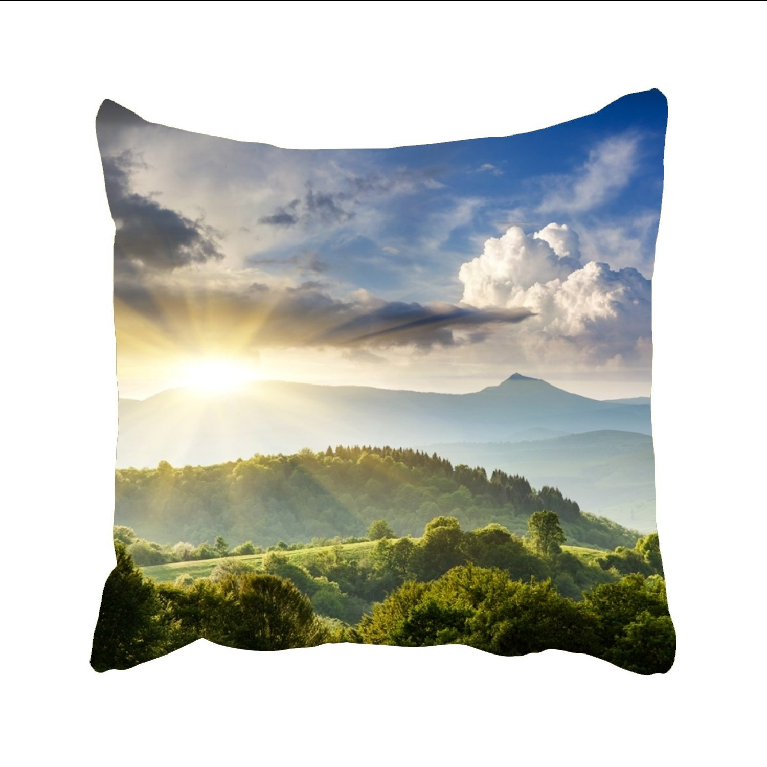 julefan Gentle犬Throw Pillow Cases Personalized装飾亜麻クッションカバー車ソファホーム 18 x 18 inches P2e_1334615-108 18 x 18 inches Beauty Mountain2 B07FCGTMN5