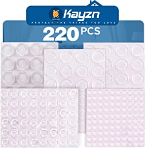 Kayzn Clear Rubber Bumper Pads Sound Dampening 220 Pieces Transparent Self Stick Furniture Pad Buffer Bumpers for Drawer Cabinet Laptop Picture Frames